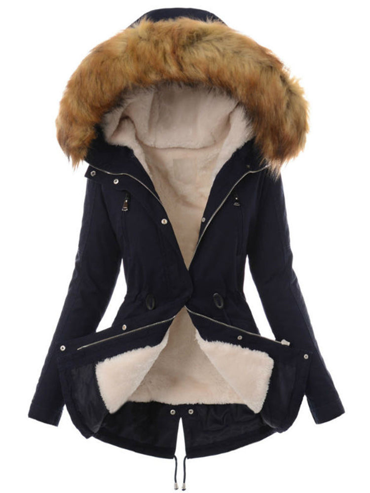 Faux Fur Shearing With Hooded Coat