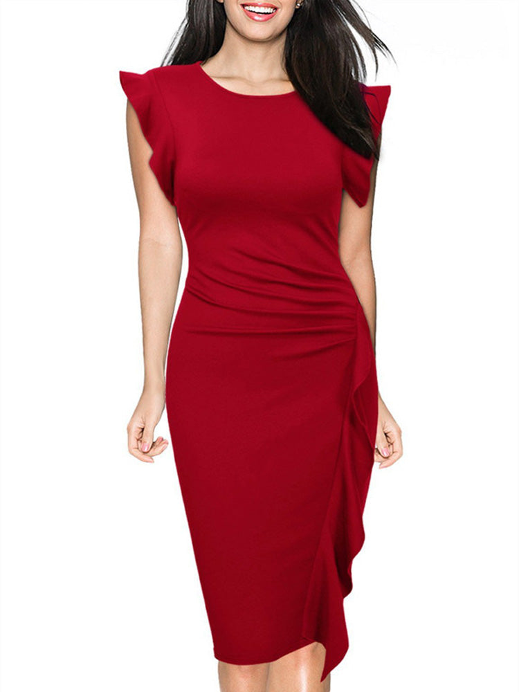 Solid color round neck lotus leaf sleeve step bodycon  dress