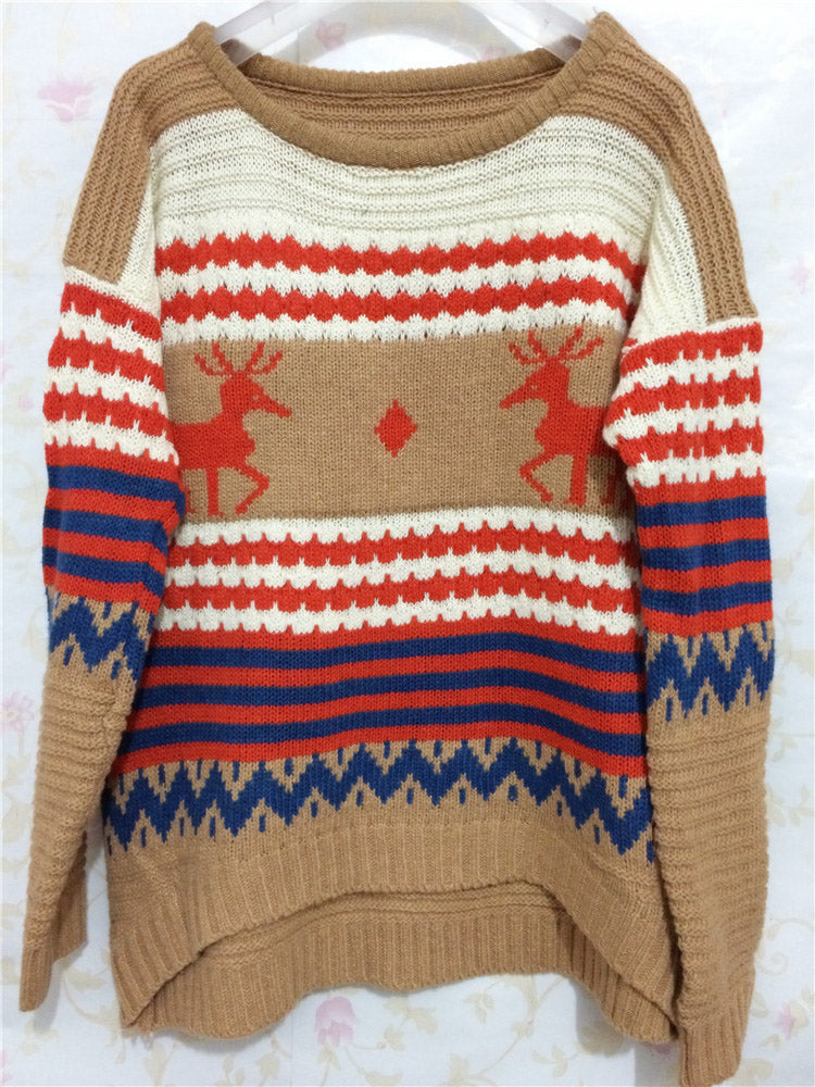 Christmas Round Neck Print Knit Sweater