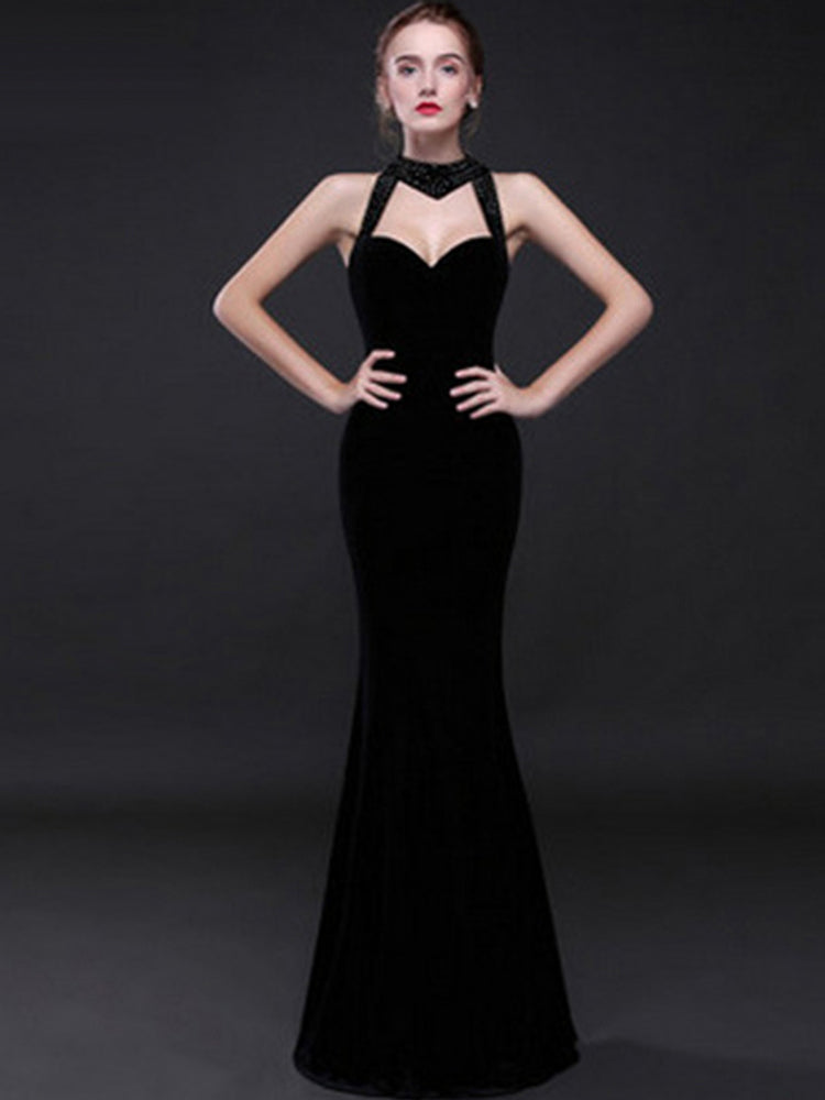 Fancy Velvet Fishtail Party Evening Formal Dress