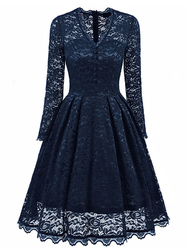Vintage long-sleeved lace A-line dress