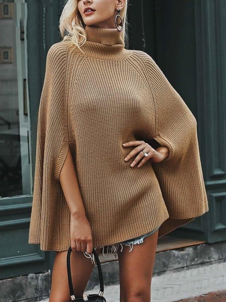 Turtleneck Knitting Poncho Sweater
