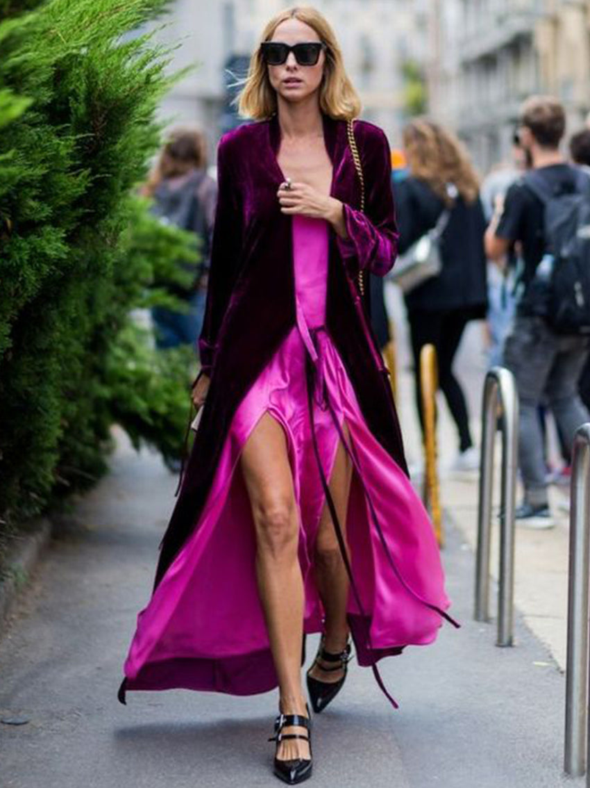 Solid Color V-Neck Long Sleeve Long Dress