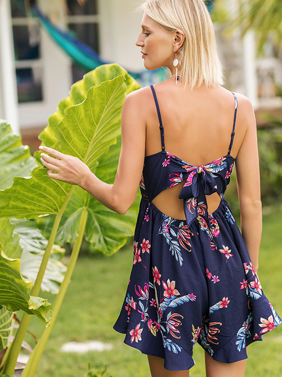Elegant  Hollow Out V-Neck Blue Printing Beach Jumpsuit