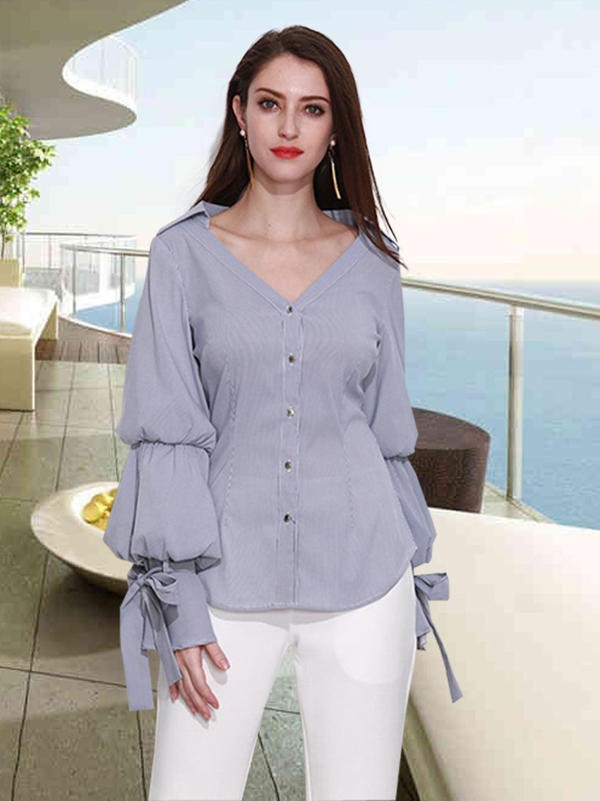 Chiffon Shirt V-neck Long Sleeve Striped Shirt - sparshine