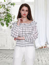 Off Shoulder plaid printed chiffon Blouse
