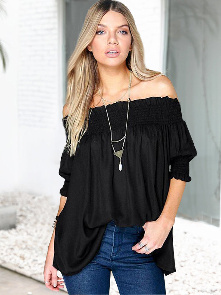 Off Shoulder Solid color Half Sleeve Blouse Tops