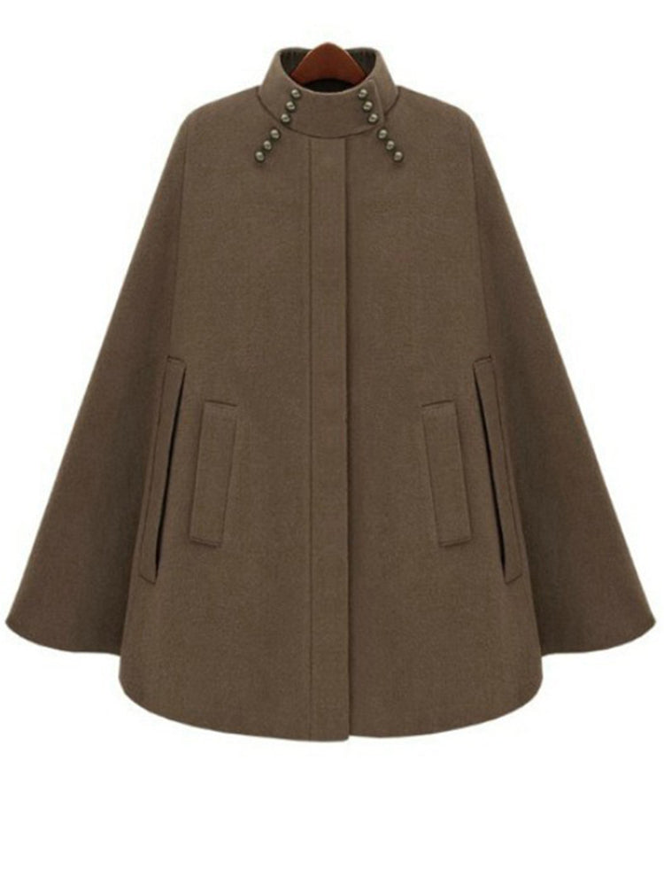 With Pocket Plain Cape Coat