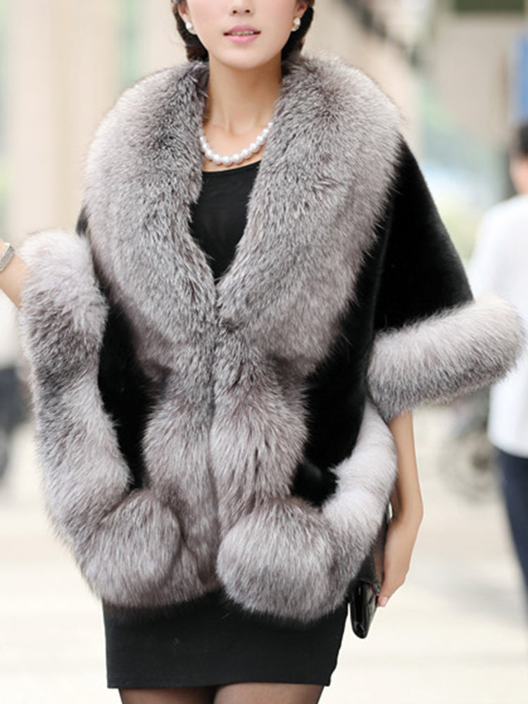 Warm Faux Fur Plain Overcoat