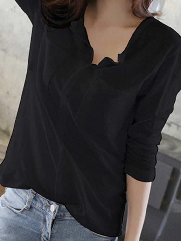 Trendy Clothes For Women Solid Color Casual V Neck T Shirt