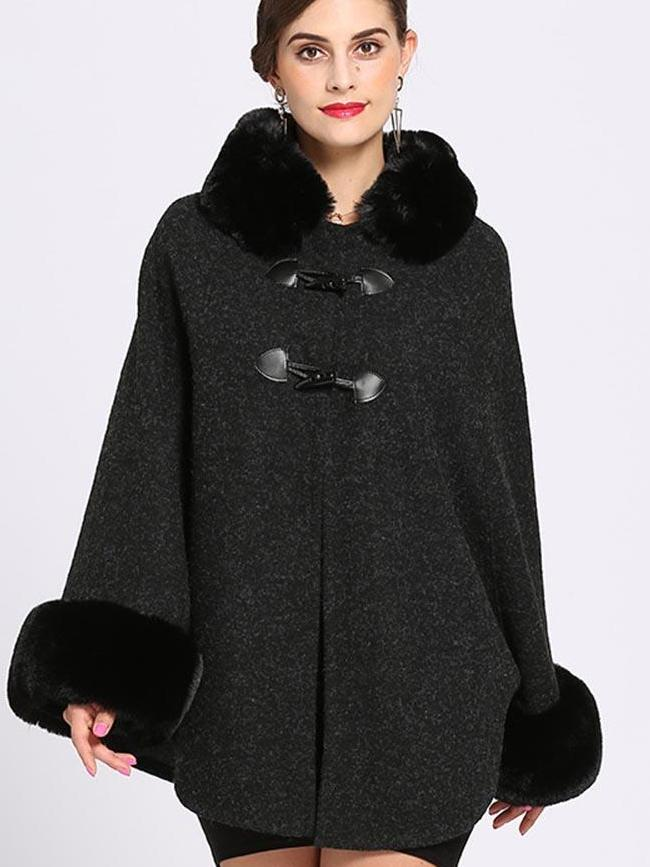 Faux Fur Single Breated Cape Coat