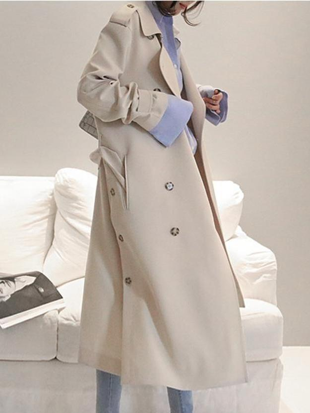 Double Brested Plain Trench Coat