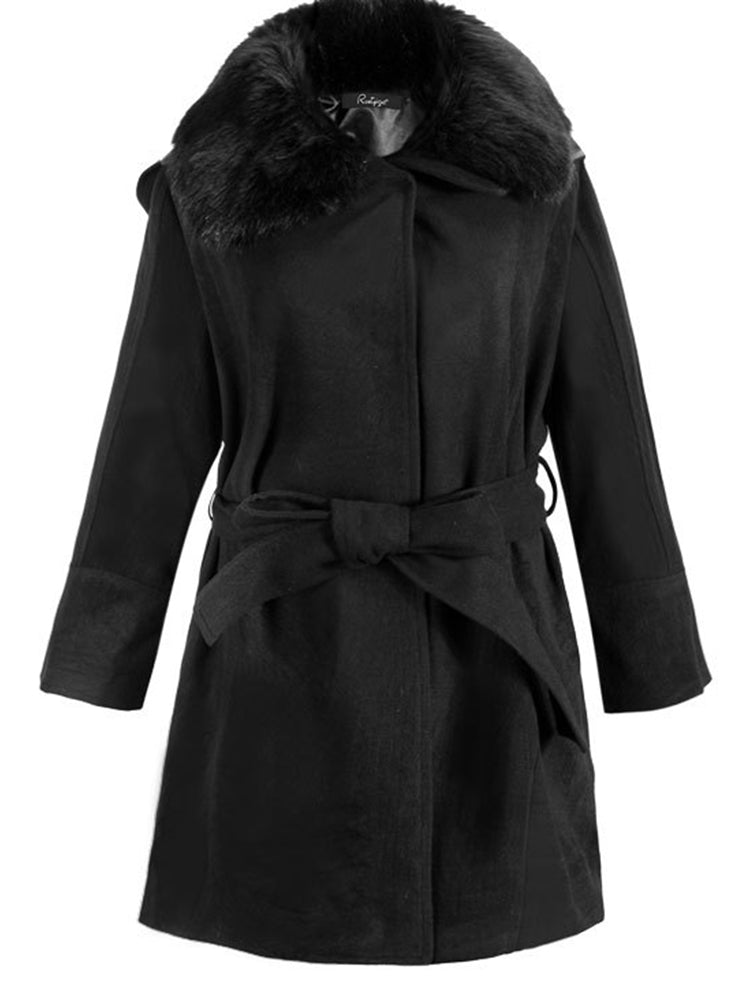 With Belt Plain With Hooded Overcoat