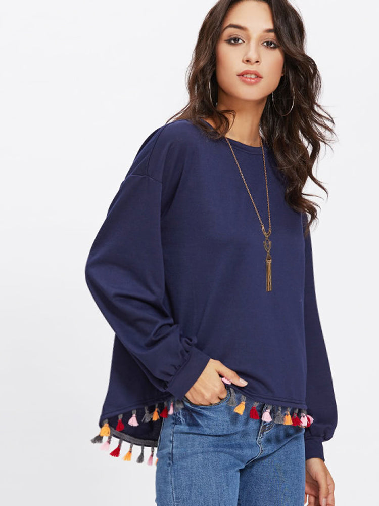 Fashion Women'Colorful Tassel Pullover