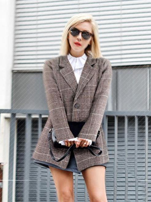 Loose Retro Plaid Casual Suit Blazer