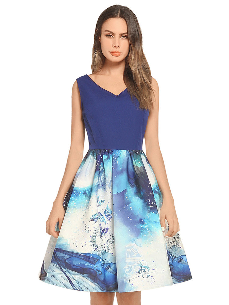 Gradient Print Dress Swing Dress
