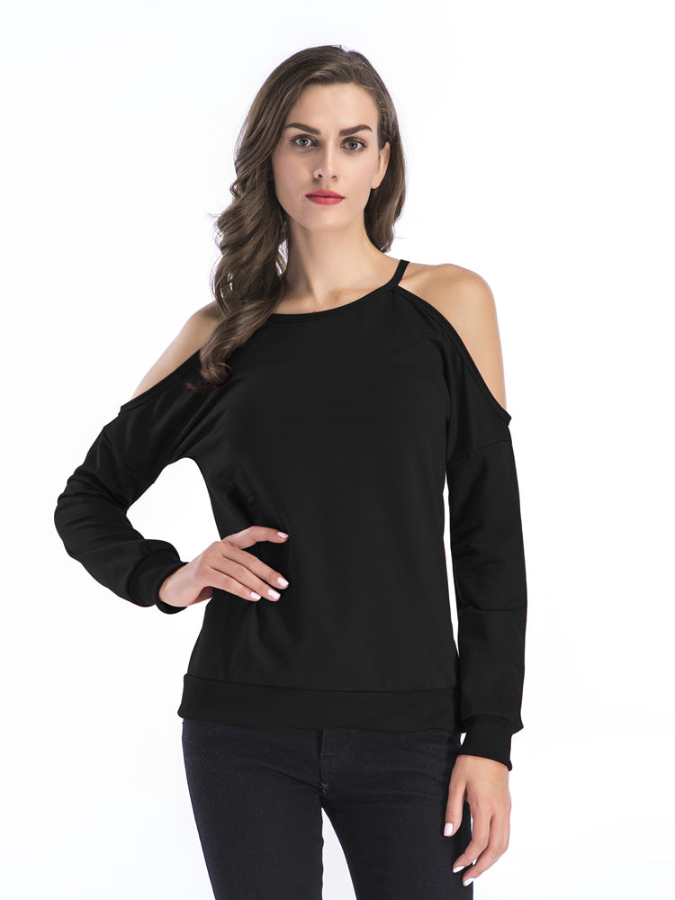 T-shirt Female Long-sleeved Off-the-shoulder Bottoming Shirt Sweater