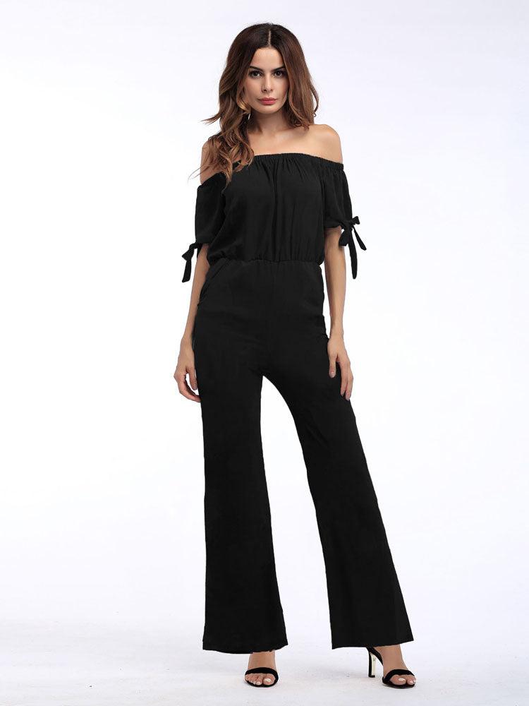 Off  Shoulder  Conjoined Wide-leg Trousers Summer Women