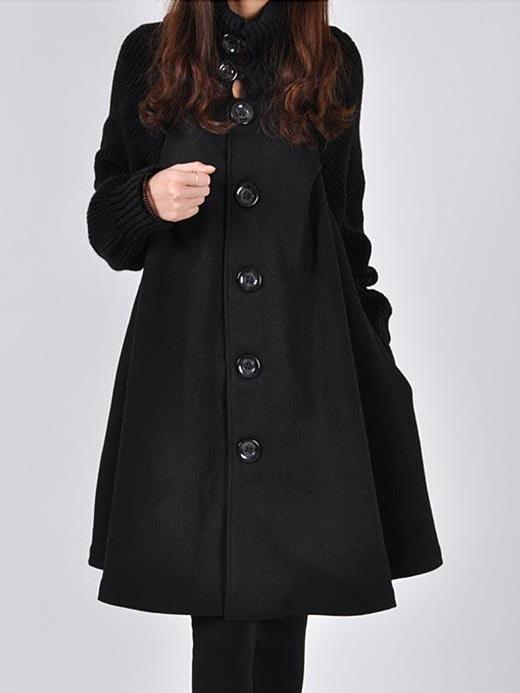 High Neck Patchwork Plain Trench Coat