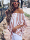 Off-Shoulder Striped Loose Chiffon Blouse