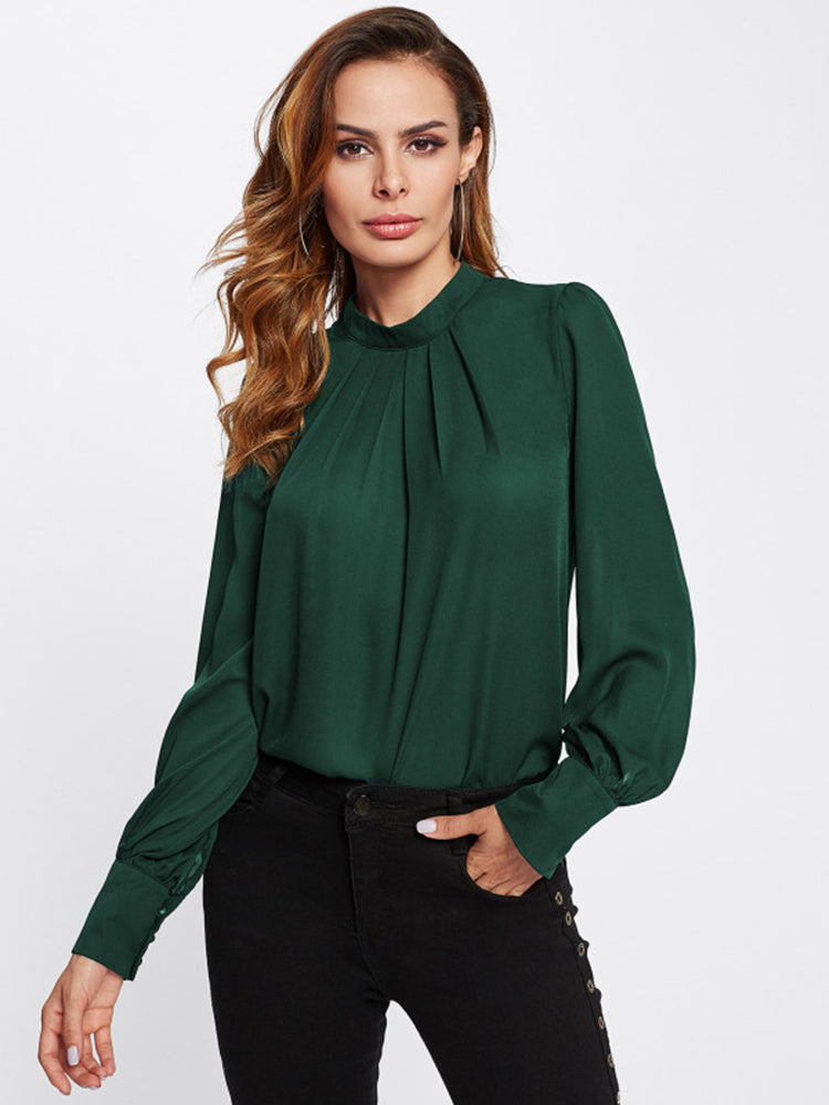 Fashion women' clothing Stand Collar Pleated Blouse