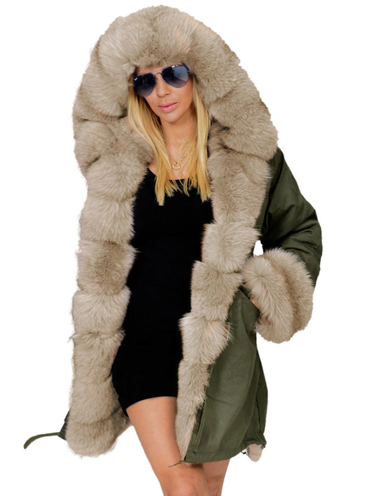 Long Faux Fur Thick army green Cotton Overcoat