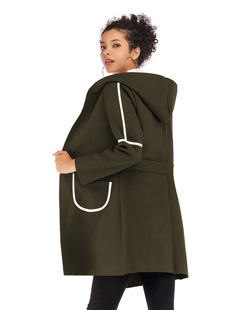 With Hooded Block With Hooded Trench Coat