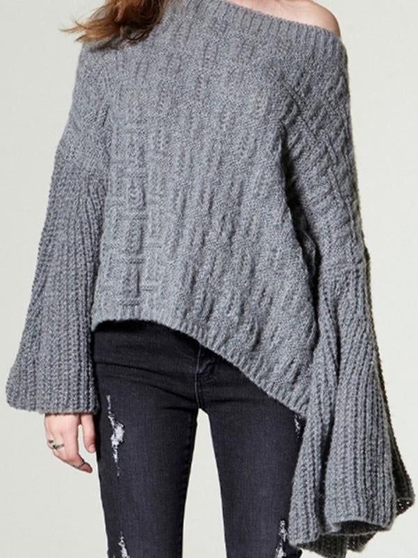 Loose Knitting Solid Color Flared Long Sleeves Sweater