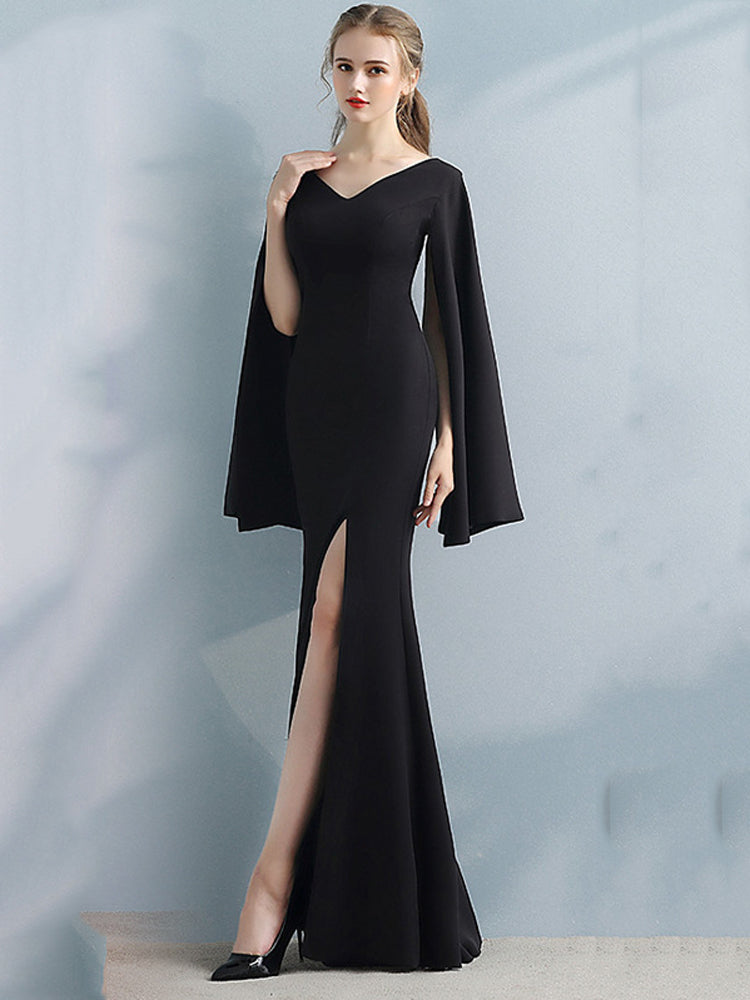 Fancy V Neck Slim Hip Split Fish Tail Formal Dress