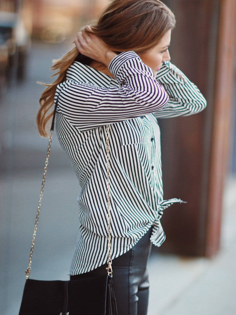 Trendy Clothes For Women Office Striped V Neck Blouse