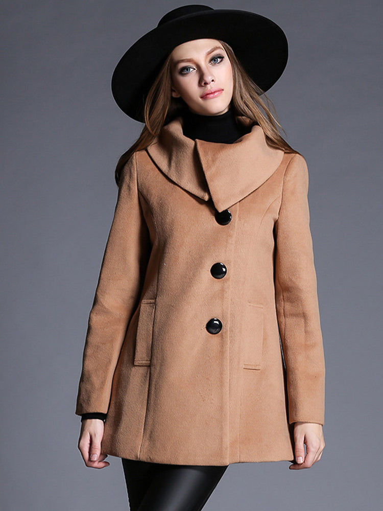 Single Breasted High Neck Trench Coat