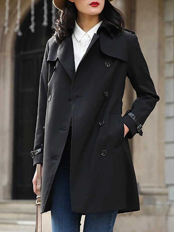 Lapel waist double-breasted trench coat