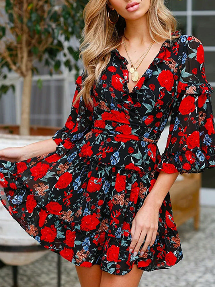 Fashion women' clothing v neck floral printed dress