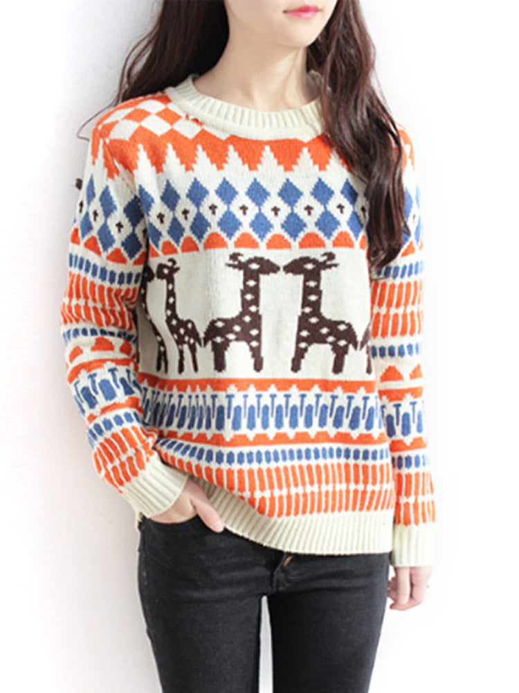 Fawn geometric pattern pullover Sweater