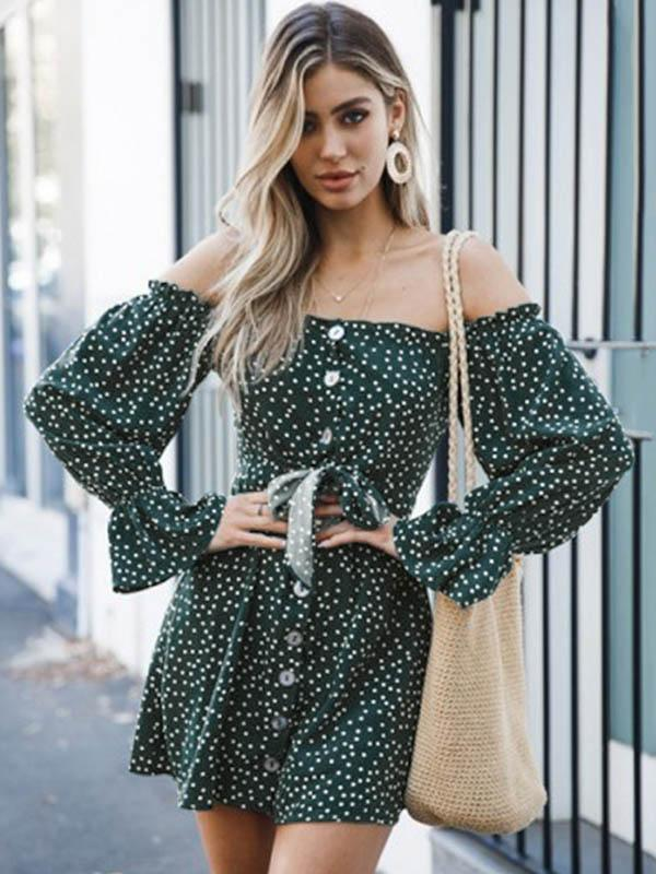 Off-the-shoulder Polka-Dot Button Long Sleeves Mini Dress