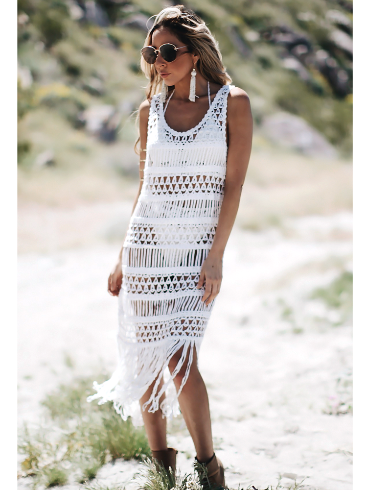 See Through Kneet Sleeveless Tassel Dresses