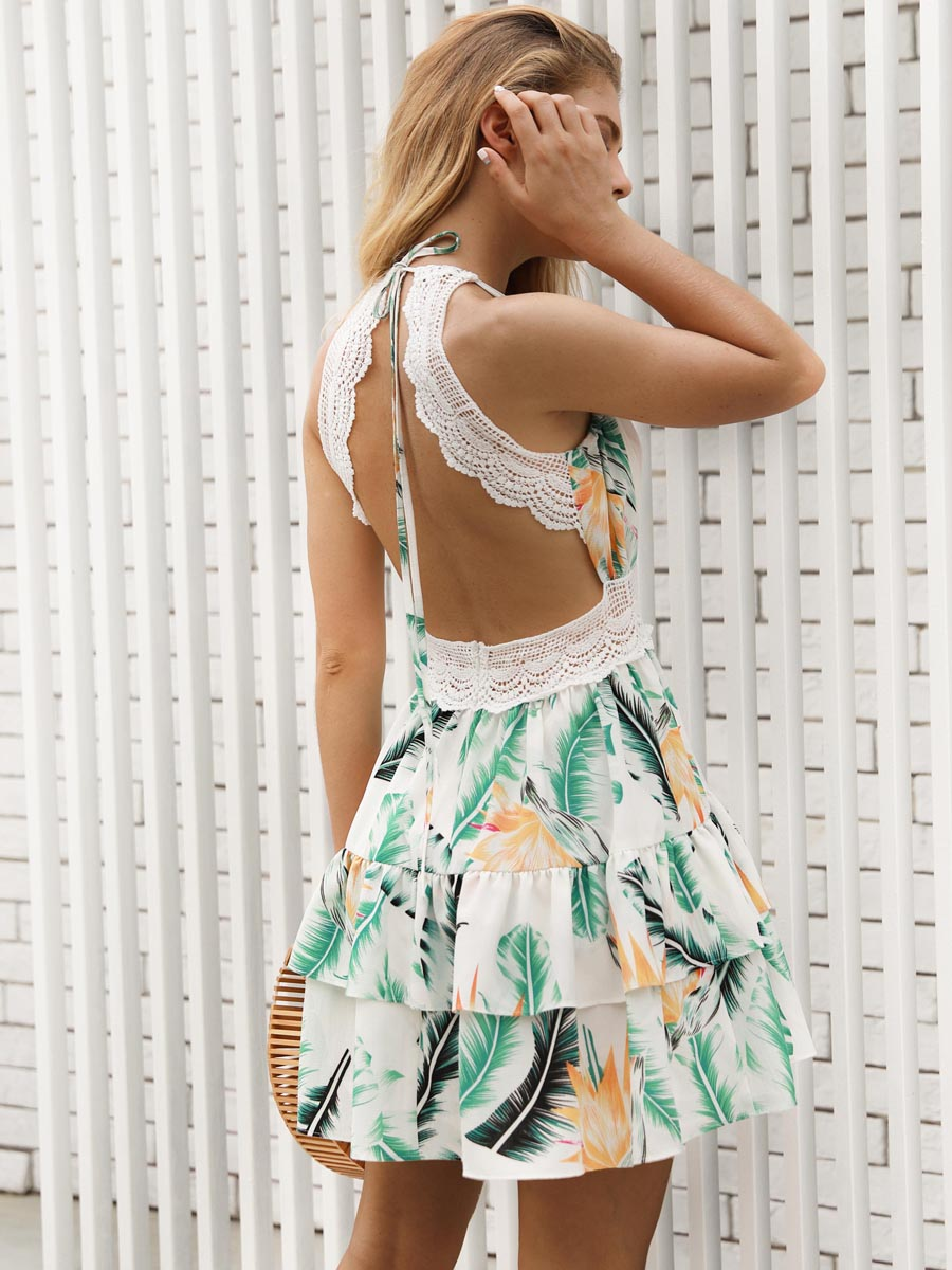 2018 New Printed Hollow Backless Summer Sling Day  Dress