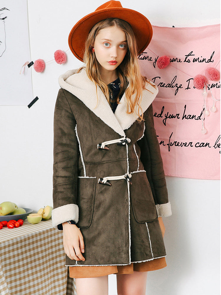 With Hooded Faux Shearing Coat