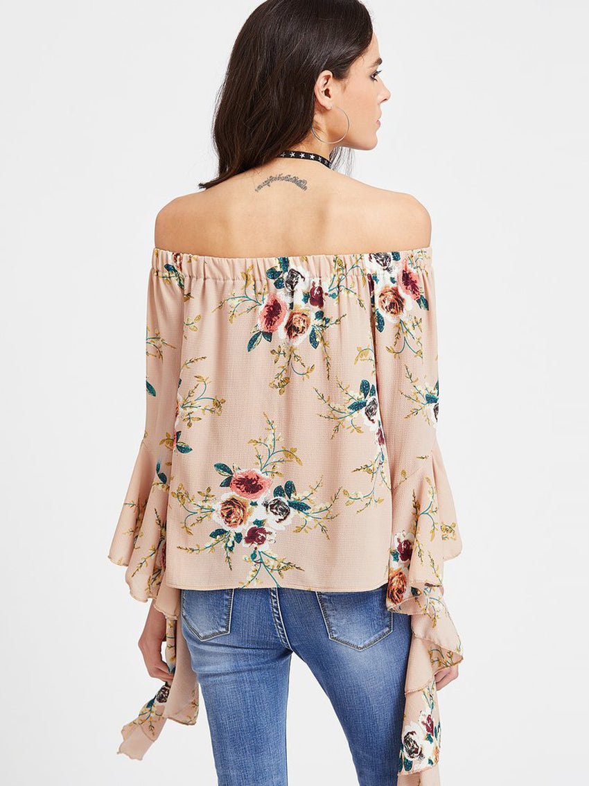 Off-Shoulder Printed Trumpet Sleeve Blouse