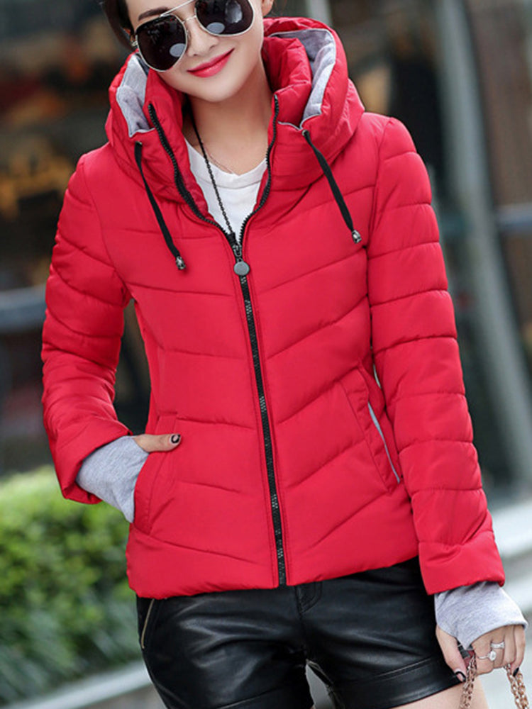 High Neck Zipper With Pocket Down coat
