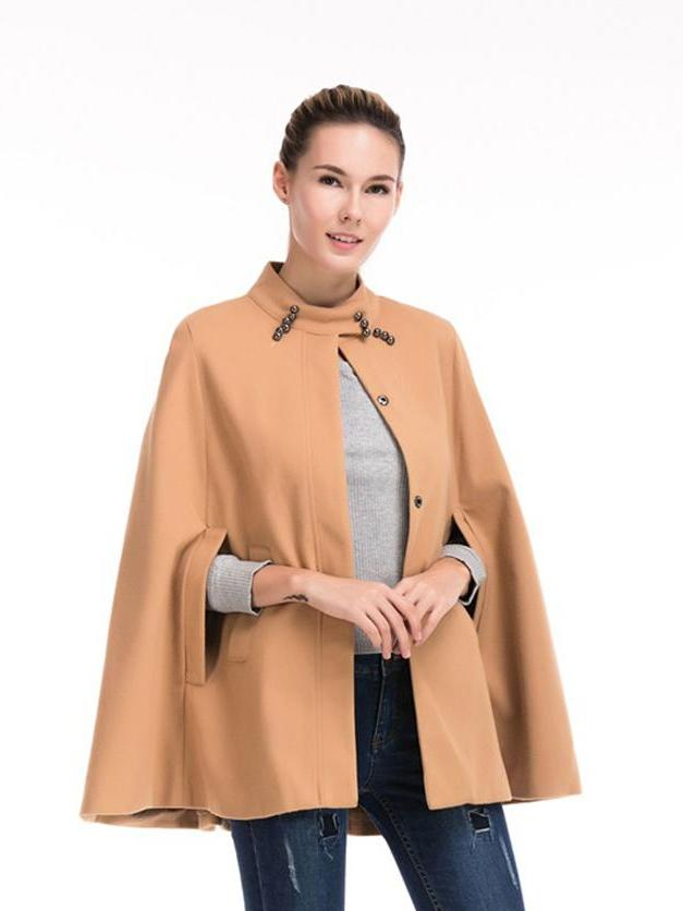 Stand Collar Sleeveless Cape