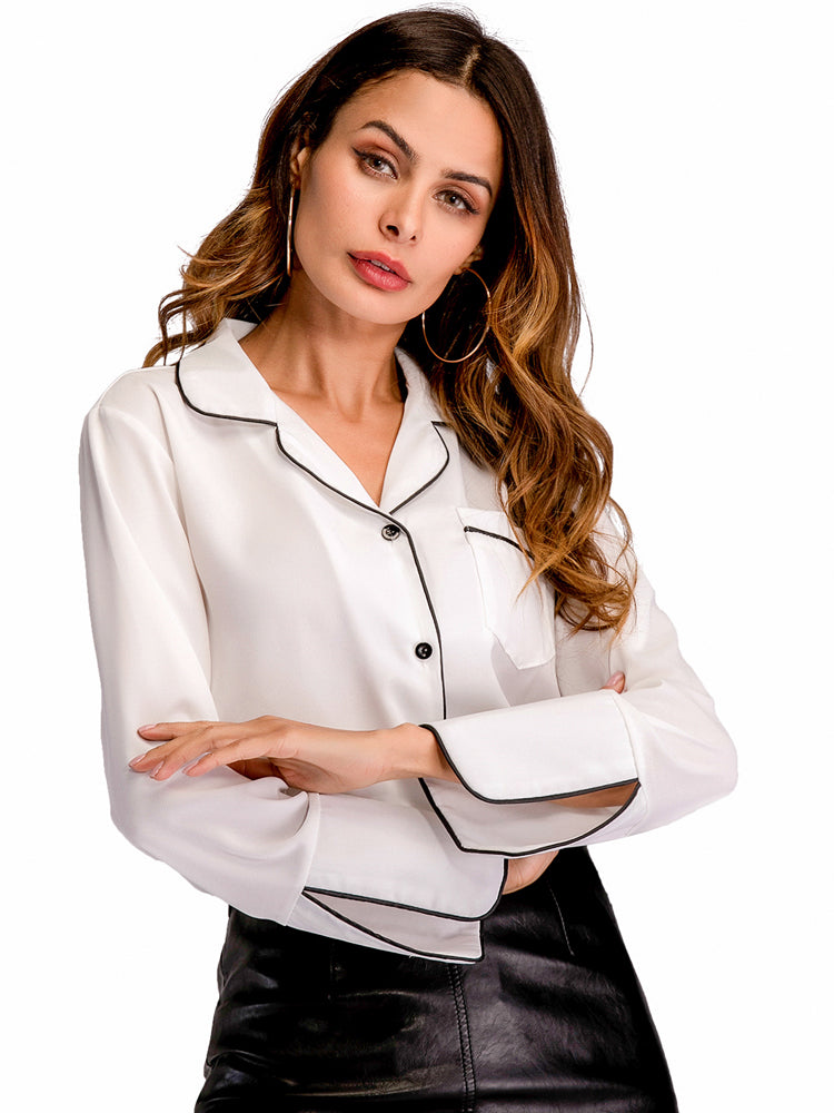 White Button Blouse Workwear Shirt Top