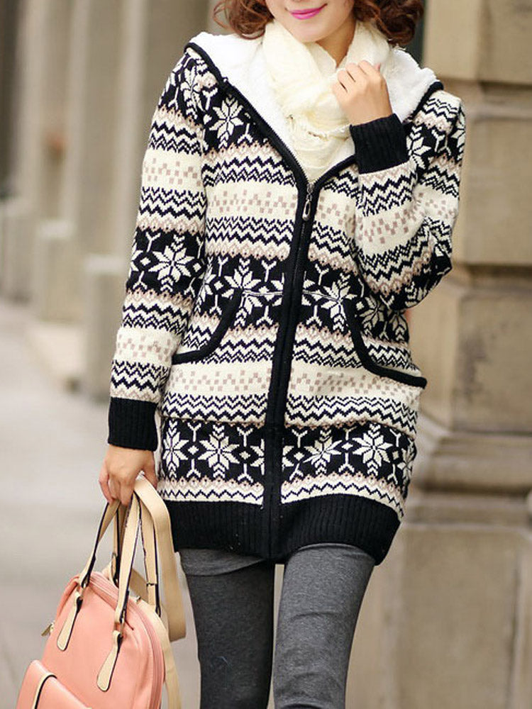 Hooded plus velvet thick sweater coat knit cardigan