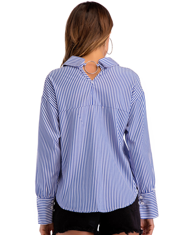 Career Lapel Striped Blouse - sparshine