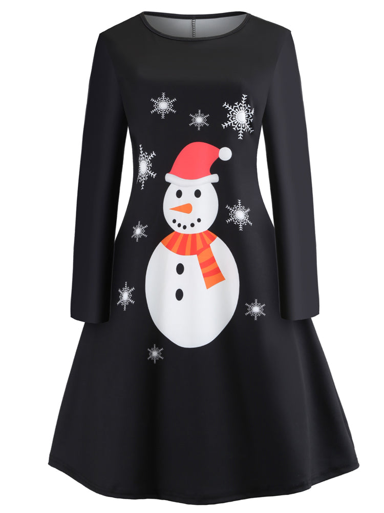 Christmas round neck long sleeve printed A-line dress