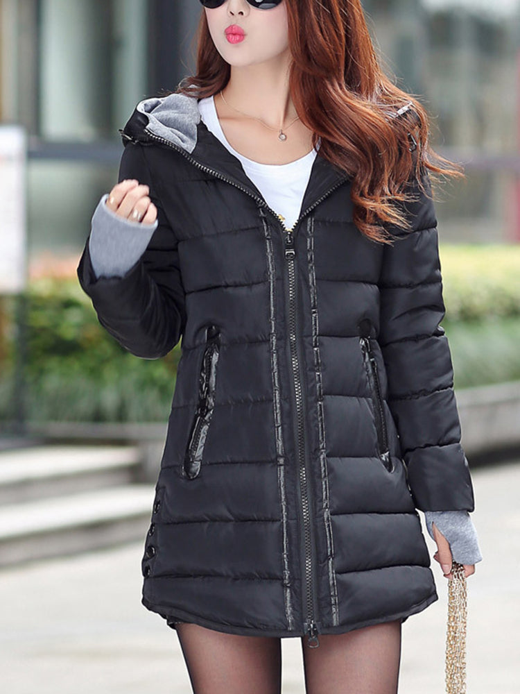 Block Zipper With Hooded Down coat