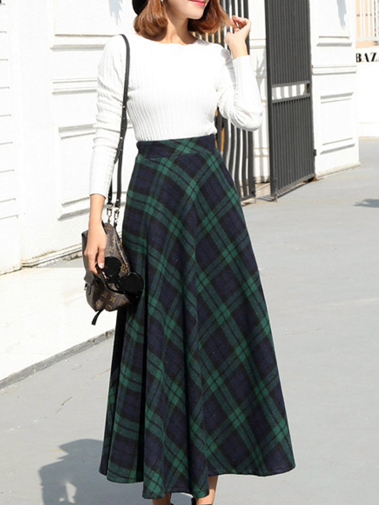 High waist slim woolen bust long dress female A-line skirt