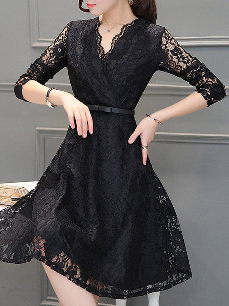 V-neck lace sexy mid-length A-line Dress
