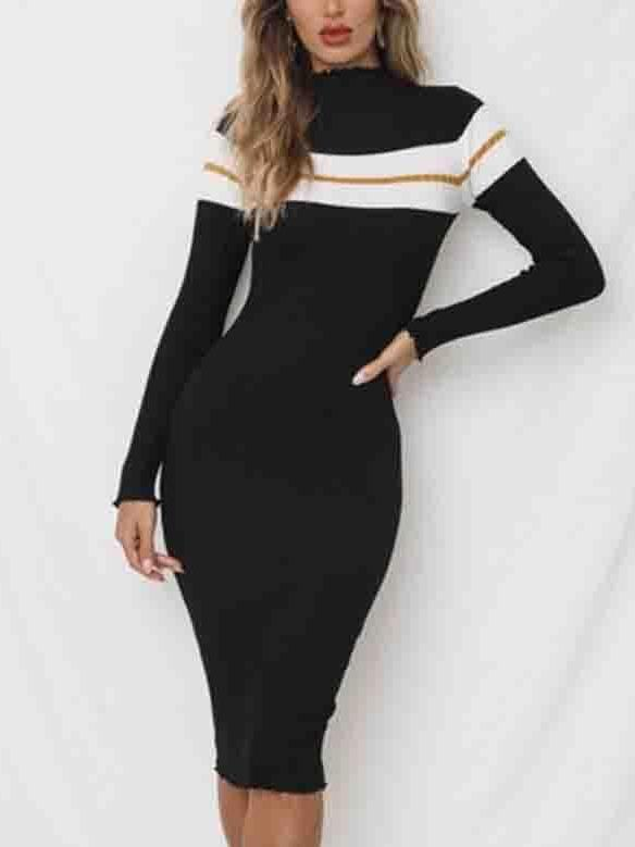 Tri-color Pit Slim Dress Knit Sweater Dress