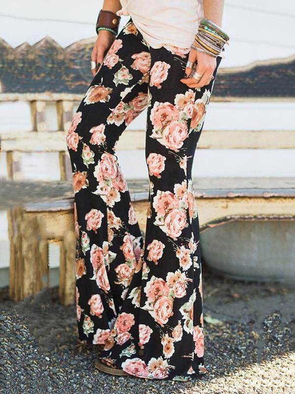 Popular Floral Printed Bell-Bottom Pants